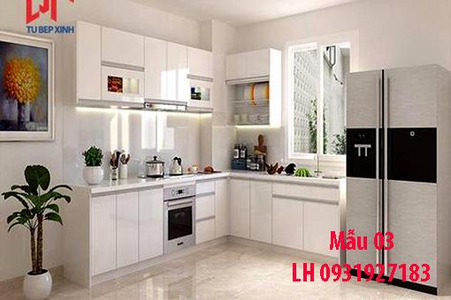 Đóng tủ bếp bằng gỗ An Cường phủ acrylic tại Đà Nẵng