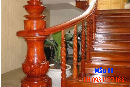 Đóng cầu thang gỗ tại Đà Nẵng, thi công tay vị mặt bậc cầu thang gỗ 8